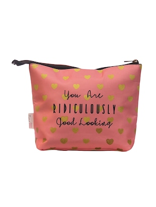 pink satin printed pouch - 15018566 - Standard Image - 2