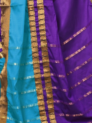 Contrast bordered saree with blouse - 15019239 - Standard Image - 2