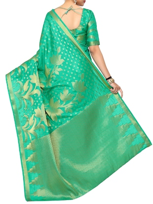 green art silk kanjivaram saree with blouse - 15019299 - Standard Image - 2