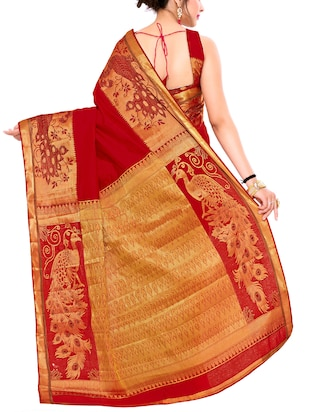 red art silk woven saree with blouse - 15019323 - Standard Image - 2