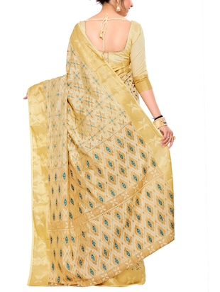 beige art silk woven saree with blouse - 15019328 - Standard Image - 2