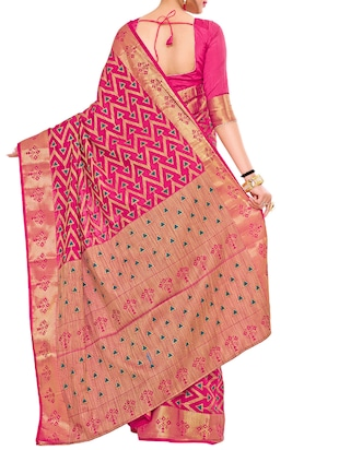 pink art silk woven saree with blouse - 15019334 - Standard Image - 2