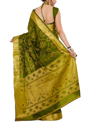 gold zari pallu patola saree with blouse - 15019343 - Standard Image - 2