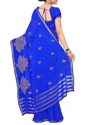 zari embroidered blue saree with blouse - 15019347 - Standard Image - 2