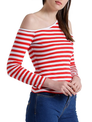 red cotton striped single cold shoulder top - 15019695 - Standard Image - 2