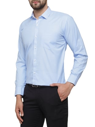 blue cotton formal shirt - 15019705 - Standard Image - 2
