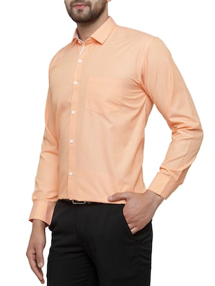 orange cotton formal shirt - 15019707 - Standard Image - 2