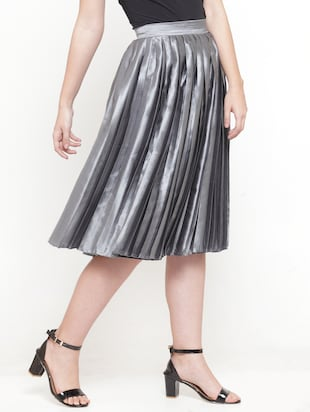 silver solid pleated skirt - 15019750 - Standard Image - 2