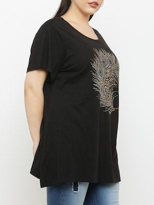 black cotton plus tee - 15019784 - Standard Image - 2