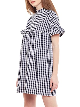 blue checkered cotton shift dress - 15020098 - Standard Image - 2