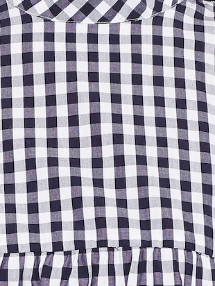blue checkered cotton shift dress - 15020098 - Standard Image - 5