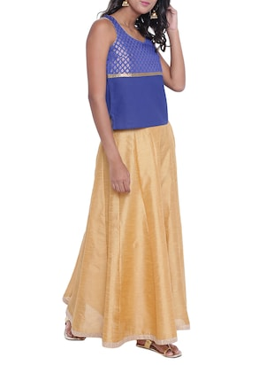 Brocade yoke design kurti with skirt set - 15020347 - Standard Image - 2