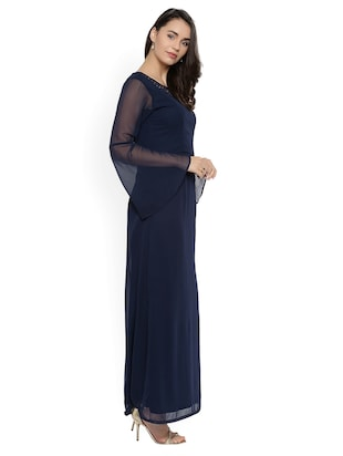 navy blue solid maxi dress - 15020358 - Standard Image - 2
