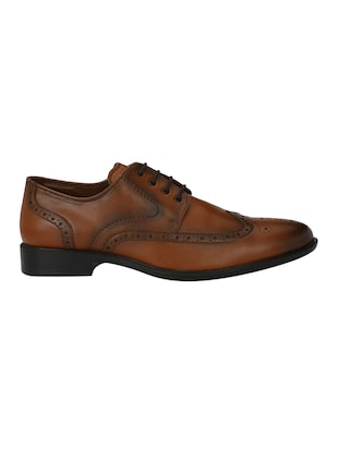 tan Leatherette lace-up derby - 15020391 - Standard Image - 2