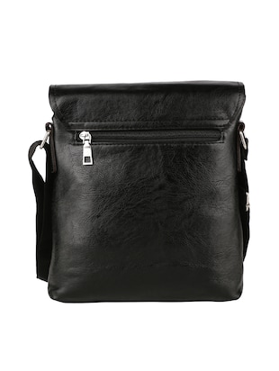 black leatherette  regular sling bag - 15020891 - Standard Image - 2