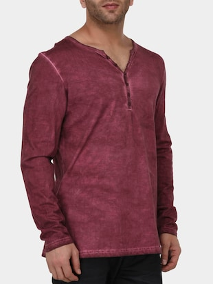 maroon cotton washed tshirt - 15021287 - Standard Image - 2