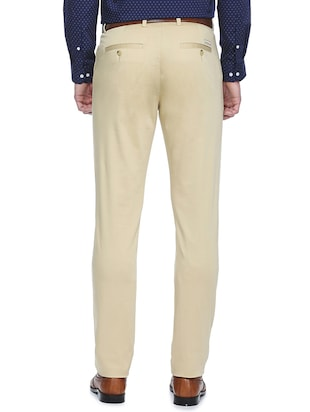 beige cotton flat front formal trouser - 15021307 - Standard Image - 2