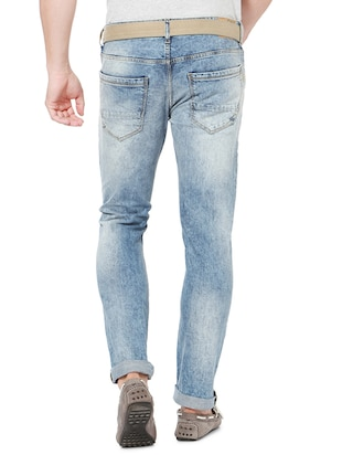 blue cotton washed jeans - 15021320 - Standard Image - 2