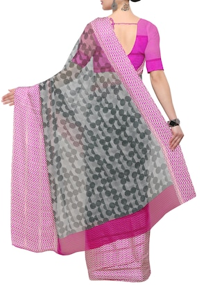 grey georgette printed saree with blouse - 15021803 - Standard Image - 2