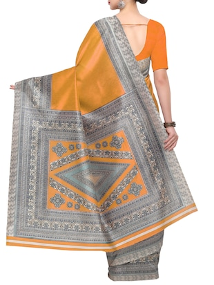 yellow raw silk printed saree with blouse - 15022692 - Standard Image - 2