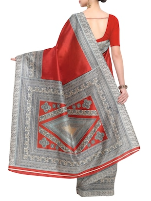 red raw silk printed saree with blouse - 15022693 - Standard Image - 2
