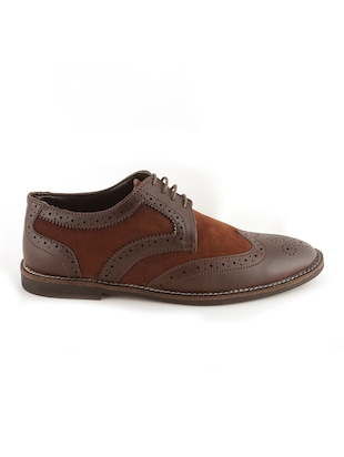 brown Leatherette lace-up derby - 15022925 - Standard Image - 2