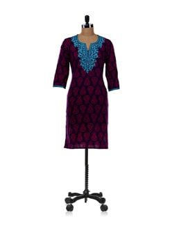 Wine Printed Kurta - Cotton Curio