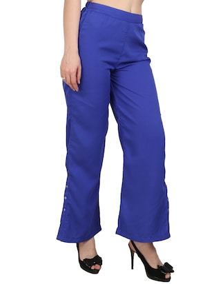 blue crepe palazzos - 15023438 - Standard Image - 2