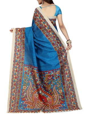 blue cotton printed saree with blouse - 15023464 - Standard Image - 2