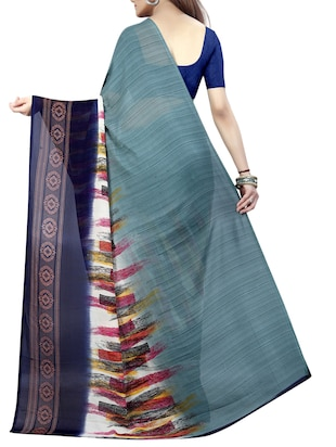 blue georgette printed saree with blouse - 15023472 - Standard Image - 2