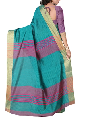turquoise cotton blend woven saree with blouse - 15023483 - Standard Image - 2