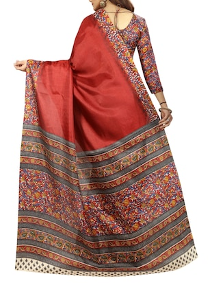 red cotton printed saree with blouse - 15023501 - Standard Image - 2