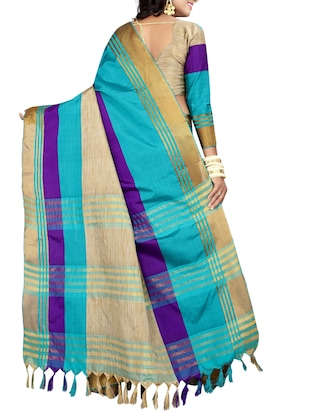 blue cotton woven saree with blouse - 15023567 - Standard Image - 2