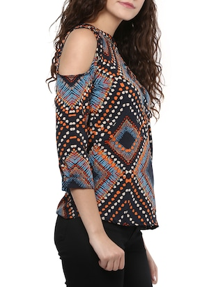 black printed crepe regular top - 15023603 - Standard Image - 2