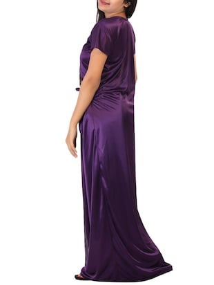 purple solid robe with nighty - 15023775 - Standard Image - 2
