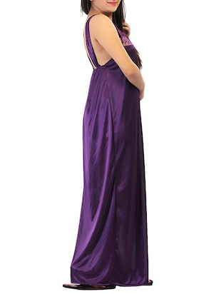 purple solid robe with nighty - 15023775 - Standard Image - 5