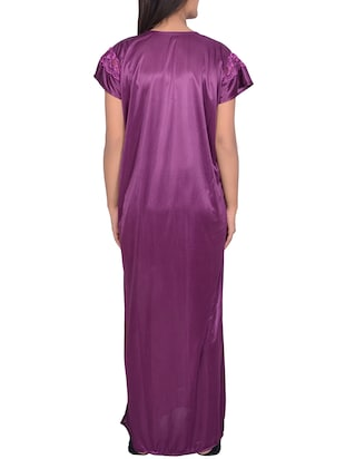 solid purple satin nighty - 15023783 - Standard Image - 2