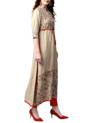 brown cotton aline kurta - 15023861 - Standard Image - 2