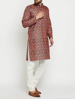 multi colored linen long kurta - 15024125 - Standard Image - 2