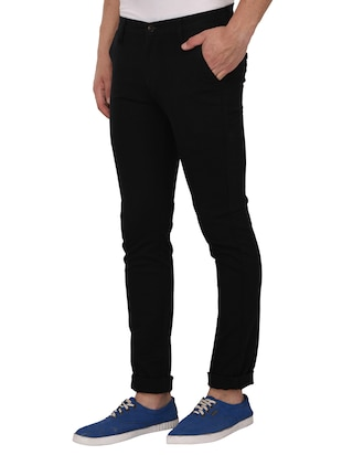black cotton blend chinos - 15024914 - Standard Image - 2