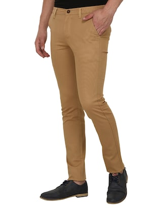 brown cotton blend chinos - 15024915 - Standard Image - 2