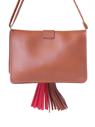 brown leatherette  regular sling bag - 15025082 - Standard Image - 2