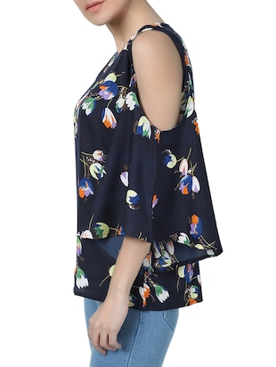 blue floral cold shoulder top - 15025158 - Standard Image - 2