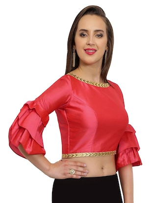 pink solid stitched blouse - 15025171 - Standard Image - 2