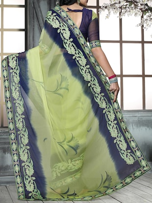 green chiffon embroidered saree with blouse - 15025207 - Standard Image - 2