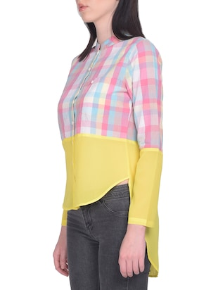 pink checkered cotton asymmetric shirt - 15025224 - Standard Image - 2