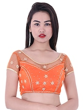 orange net embroidered blouse -  online shopping for Blouses