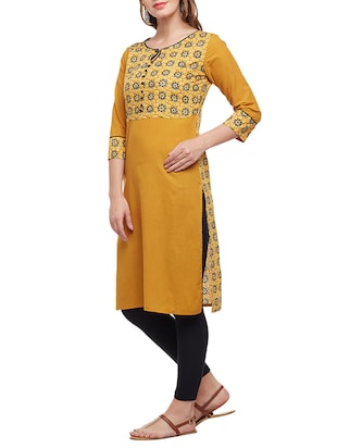 yellow cotton straight kurta - 15025560 - Standard Image - 2