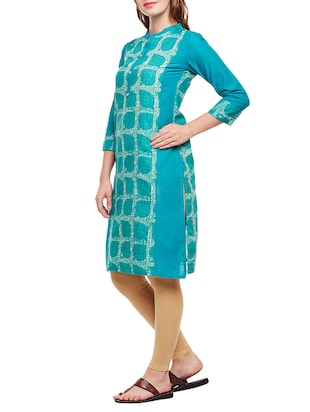 green cotton straight kurta - 15025561 - Standard Image - 2