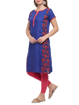 blue cotton straight kurta - 15025568 - Standard Image - 2